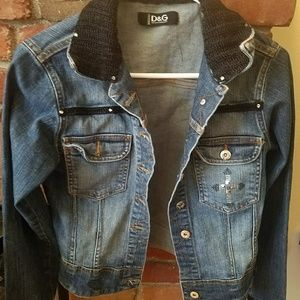 Dolce & Gabbana Jean Jacket with cross and bling